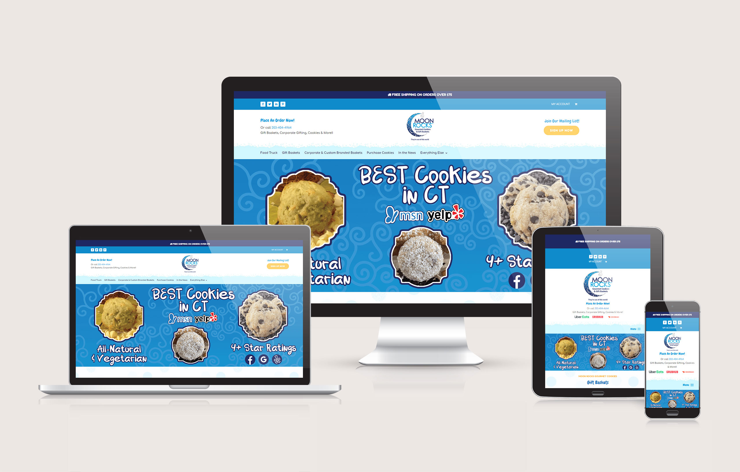 Moon Rocks Gourmet Cookies - Website Layout by Ok Omni