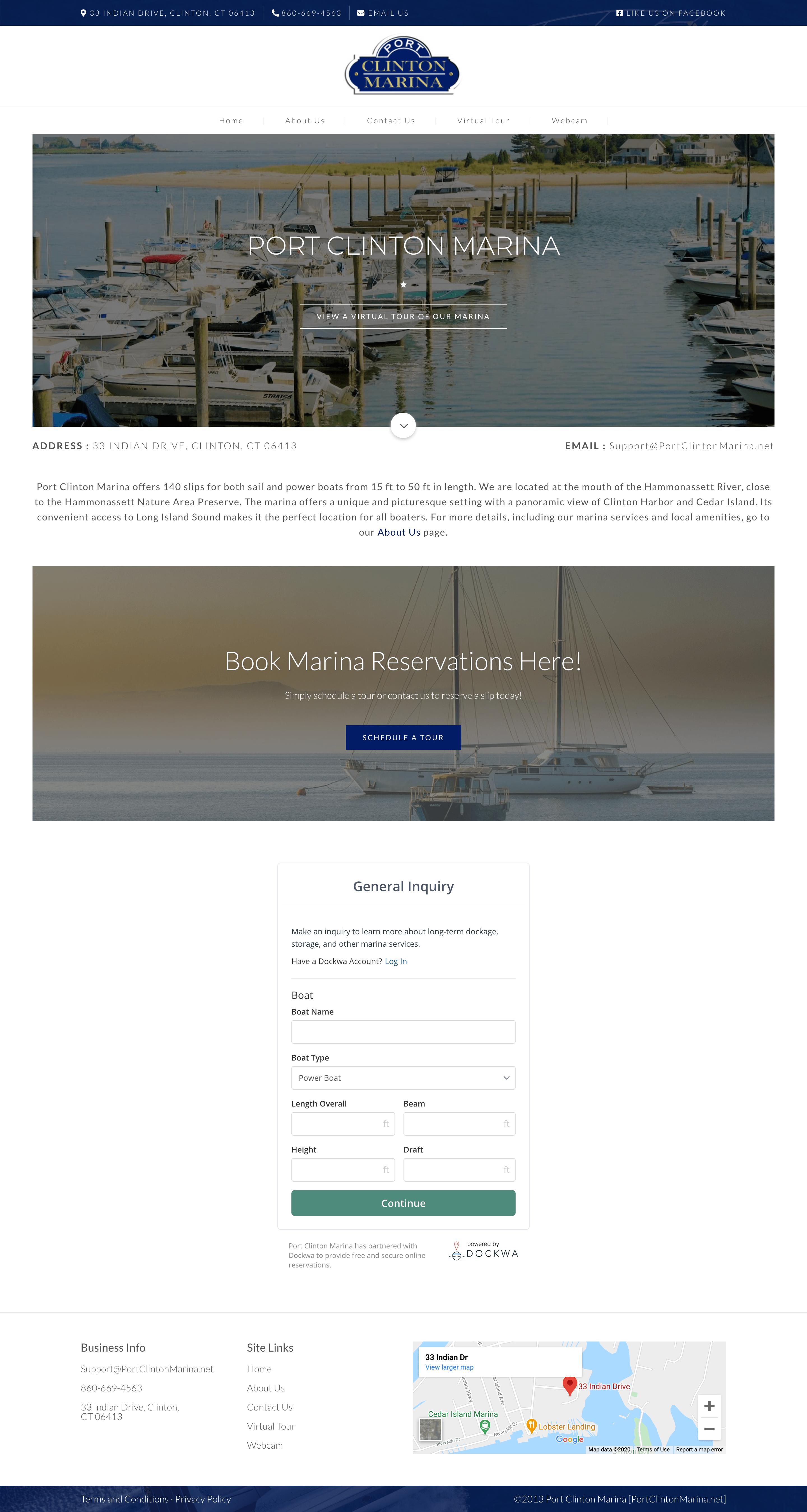 Port Clinton Marina - Full Website Layout Design - Homepage