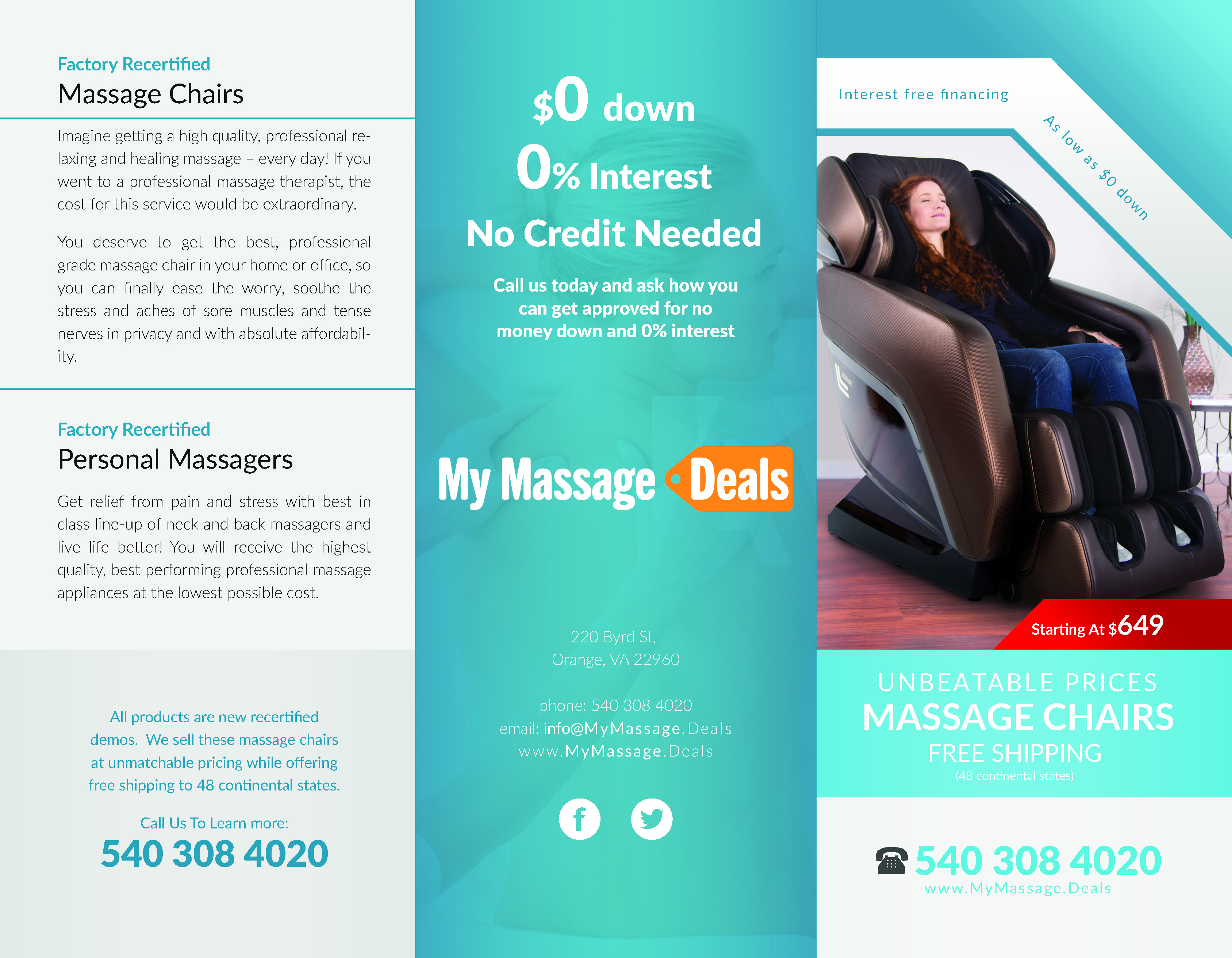 My Massage Deals - TriFold Brochure Layout Design - Full Outside